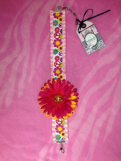 Pink and yellow flower deg necklace on Etsy, $18.00