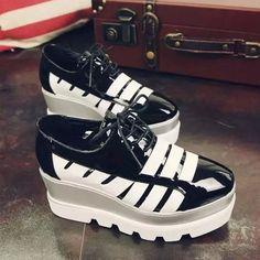 Fashion New Lace Up Thick Sole Creepers Slip On Shoes Flats Loafers Black UK5
