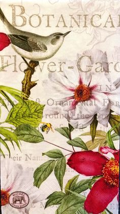 THREE (3) Botanical Flower Garden Paper Hostess Napkins for Decoupage and Paper Crafts