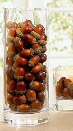 More fall vase ideas... Acorns!