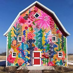 Garden Mural, Studio Build, House Of Turquoise, Barn House Plans, Hand Painted Walls, Up House, Mural Wall Art, Facade House, Outdoor Art