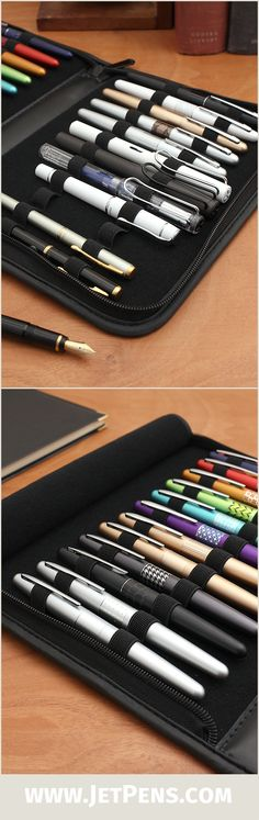 Store up to 24 of your favorite fountain pens in this beautiful leatherette Regal Pen Folio.