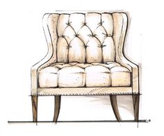 Here is a page from Candice Olson's sketchbook. Meet SASHA- a new tufted chair she designed for Highland House Furniture. #furniture #candiceolson #interiordesign #homedecor