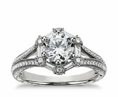 Monique Lhullier Baguette Hexagon Engagement Ring. I always thought I'd want a halo, but this one is so much more interesting.