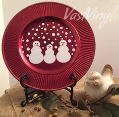 Snow Family snow man decorative charger plate by VastVinyl on Etsy