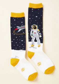 Landing of Opportunity Youth Socks. Give that special pip squeak in your life every opportunity to showcase their smarts - and their smart style, too - with these cotton-blend crew socks! #blue #modcloth