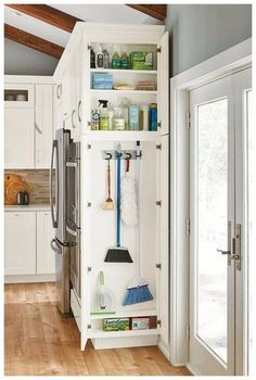 Home Remodel Kitchen Keep cleaning supplies neat and tidy and on hand at all times with our Utility Cleaning Cabinet.Home Remodel Kitchen Keep cleaning supplies neat and tidy and on hand at all times with our Utility Cleaning Cabinet. Diy Kitchen Storage, Kitchen Cabinet Organization, Home Decor Kitchen, Home Organization, Cabinet Ideas, Cookbook Storage, Rustic Kitchen, Kitchen Modern, Kitchen Interior