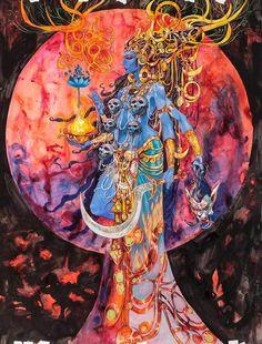 Kali Goddess of Time – Abhishek Singh Art Gaia Goddess, Mother Goddess, Kali Tattoo, Mother Kali, Kali Ma, Kali Shiva, Esoteric Art, Roman Sculpture, Hindu Art
