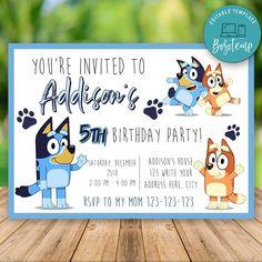 Printable Bluey Birthday Invitation Instant Download - Bluey Party Invitation - Bluey Party Invites Happy Birthday Funny, Happy Birthday Greetings, 4th Birthday, Birthday Parties, Card Birthday, Funny Happy, Birthday Ideas, Picnic Parties, Birthday Banners