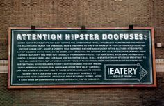 funny/clever hipster ad courtesy of Urban Eatery