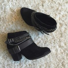 Trouvé Bristol Wrap Chain Bootie Black suede. Two chains, two buckles. Side zip. Small heel. Lightly worn. Trouve Shoes Ankle Boots & Booties