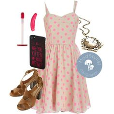 Dots and Dashing Dress, Midsummer Eve Rendezvous Heel, Cameo So Chic Necklace, Cats No Joke! iPhone 5/5S Case, Lip Stain in Pink Velvet  #dots #pinklipstick #OOTD