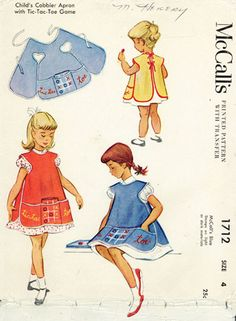 McCall's 1712; 1952; Child's Cobbler Apron and Tic Tac Toe Game; Play set includes apron, game and game case. Apron has triple front pocket and is edged with double-fold bias binding that ties in back. Tic Tac Toe game is reinforced with cardboard and is embroidered with three colors of six-strand floss. The adult version of this pattern is McCall's 1713