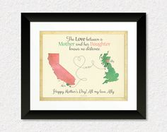 Mother's Day Gift, Long Distance Gift, Birthday Gift for Mom, Mother and Daughter Quote, Moving Away Gift, Map Art Print, Any Two Places, Keepsake by KeepsakeMaps on Etsy