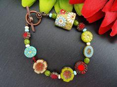 Ceramic and Czech Glass Bracelet
