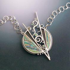 Iridescent Mosaic Silver gem stone and Polymer by LizardsJewelry