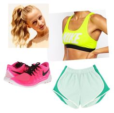 """""""Jess is at work with this running set"""" by slay-queen ❤ liked on Polyvore featuring moda, NIKE e Hershesons"""