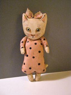cat art doll , little cat girl , sandy mastroni, whimsical, pink polka dot , wall art doll , shelf art,