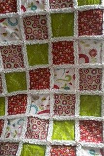 rag quilt made with riley blake love birds flannel