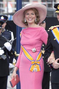 Crown Princess Mathilde of Belgium leaves the Nieuwe Kerk in Amsterdam after the inauguration ceremony of King Willem Alexander