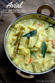 Avial - Kerala Mixed Vegetable Curry with Coconut and Yogurt Sauce - A Kerala Sadya Recipe - Vegetarian, Gluten Free - Veg Curry, Vegetarian Curry, Vegetable Curry, Vegetarian Cooking, Vegetarian Recipes, Mango Curry, Vegetarian Lunch, Veg Recipes, Curry Recipes