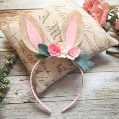 Bunny Ears Bunny Headband Woodland Bunny by VivibellesBows