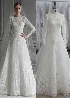 Elegant Tulle Jewel Neckline A-line Wedding Dresses with Lace Appliques