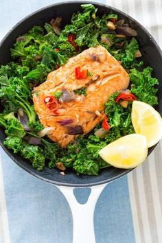 Curly Kale with Salmon and Chilli