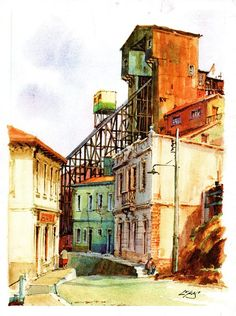 LUKAS, Ascensor Monjas, Valparaíso Iglesias, Sketches, Painting, Color, Places Around The World, Landscape Pictures, Watercolor Paintings, Paintings, Drawings