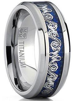 8MM Men's Titanium Wedding Band Ring With Dragon Design Over Blue Carbon Fiber Inlay