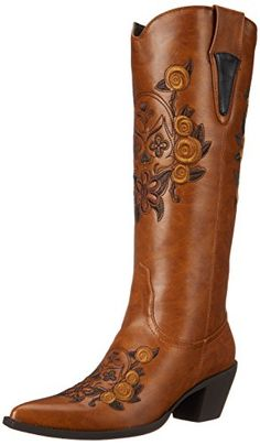 Roper Women's Dawn Western Boot,Floral/Skull Tan,8.5 M US ** Check out this great product.