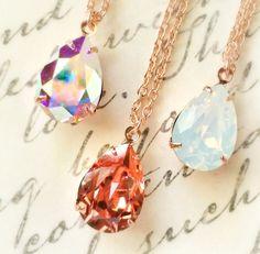 Rose Gold Crystal Rhinestone Necklace, Swarovski Rhinestone Pear Pendant, 14K Rose Gold, One (1) Necklace, AB, Peach, Opal, Christmas Gift