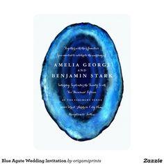 Blue Agate Wedding Invitation