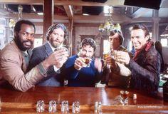 Silverado Kevin Costner: Danney Glover: Kevin Kline: Scott Glenn: and writer Lawrence Kasdan on the set of Silverado