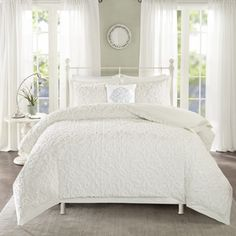 One Allium Way Cherbourg Cotton 4 Piece Comforter Set Size: King/California King, Color: White Queen Comforter Sets, Bedding Sets, Pink Comforter, White Comforter Bedroom, Ivory Bedding, White Headboard, Cotton Bedding, Bed Sizes, My Living Room