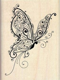 Inkadinkado Butterfly - Rubber Stamp. Our delicate butterfly wood stamp image is beautifully rendered with scrolled detail.