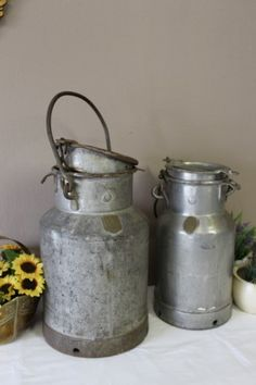 Other Metalware - A pair of vintage metal cream/ milk canisters with loads of charm & character. for sale in Gauteng