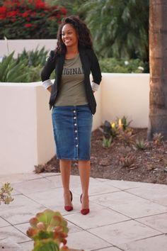 42 Splendid Denim Skirts Outfits Design Ideas To Try Asap - Kleidung anders - Denim Fashion Skirt Outfits Modest, Denim Skirt Outfits, Modest Skirts, Denim Skirts, Maxi Skirts, Work Fashion, Denim Fashion, Modest Fashion, Fashion Outfits