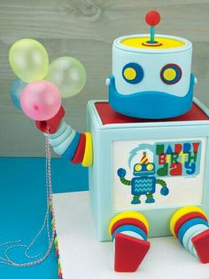 Robot With Balloons Cake
