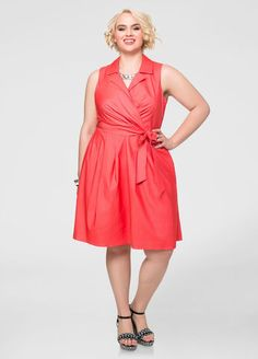 Surplice Lapel Dress Ashley Stewart