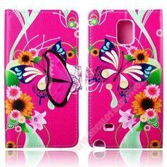 Personaliza y protege tu Móvil galaxy Note 4 con la funda rosa mariposa