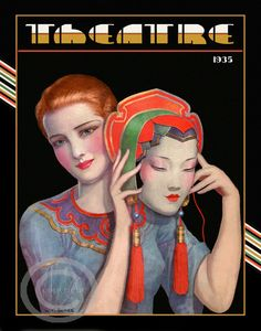 Whimsical Art Deco Theatre W.T. Benda Beautiful Red Head  holding a oriental face mask Drama Stage 1935 Giclee Fine Art Print 11x14