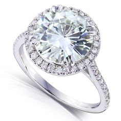 Round-cut Moissanite and Diamond Engagement Ring 3 1/3 Carat (ctw) in 14k White Gold (9.5mm)