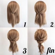 Coiffure facile Facile rapideYou can find Blonde brunette and more on our website. Pretty Hairstyles, Braided Hairstyles, Easy Hairstyles For Medium Hair, Medium Hair Updo Easy, Updos For Medium Length Hair Tutorial, Low Pony Hairstyles, Easy Everyday Hairstyles, Medium Hair Tutorials, Quick School Hairstyles
