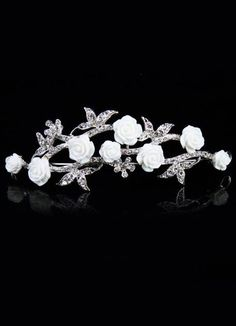 Unique Sweet White Crystal Metal Wedding Tiara - Wedding Jewelry - Accessories I had one like this for days prior for the bachellorette trip. Flower Headpiece Wedding, Flower Crown Bride, Bridal Tiara, Wedding Headpieces, Wedding Veils, Wedding Dresses, Sleeping Beauty Wedding, Wedding Tiaras, Bride Pictures