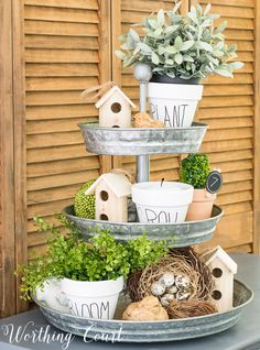 Tiered tray decorated for summer with diy knock off Rae Dunn clay pots. Tiered tray decorated for summer with diy knock off Rae Dunn clay pots. Clay Flower Pots, Clay Pots, Spring Home Decor, Diy Home Decor, Diy House Projects, Country Farmhouse Decor, White Clay, Tray Decor, Wall Decor