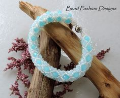Filled Tubular Netting Bracelet,Turquoise and Opal Faceted Rondelle Crystals,AB Clear Beads,Silver Plated Magnetic Clasp. SRAJD