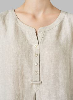 Linen Split Neck Long Tunics - Plus SizeA breezy shift in a straight cut short sleeves linen long tunics with a high-low hemline.Vivid Linen discover a new world of comfort and style in linen clothing. Neck Designs For Suits, Neckline Designs, Dress Neck Designs, Designs For Dresses, Blouse Designs, Simple Kurti Designs, Salwar Designs, Kurta Designs Women, Kurta Patterns
