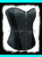 Black & White Polka Dot Rockabilly Pin Up Corset