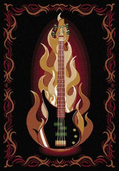 5x7 Flaming Guitar Rug